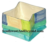 Colorful Hand Painted Square Planter