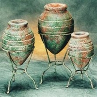 Iran and Clay 3pc Pottery Vase Set