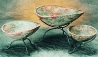Iron and Clay 3piece Bowl Set - Mexican Pottery