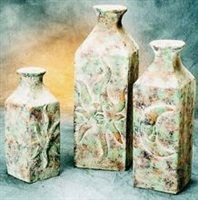 Clay 3pc Vase Mexican Pottery