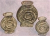 Clay 3pc Pottery Set - Spiral Design Vase Set