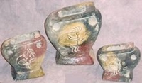 Clay 3pc Pottery Set - Kokopelli Vase Set