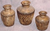 Clay 3pc Pottery Set - Swirly Design Vase Set