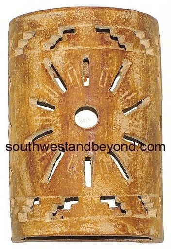 Mexican Clay Wall Sconces : Wall Sconce Rustic Clay Light Cover Mexican Wall Art