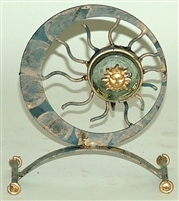 Iron and Glass Mexican Candle Holder - Sun Face Blue