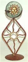 Iron and Glass Mexican Candle Holder - Sun Face Copper