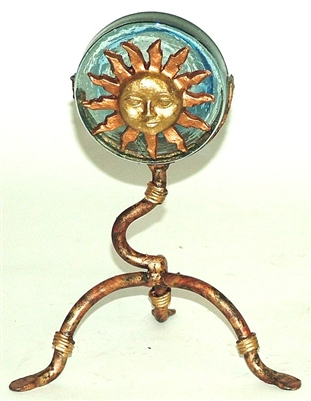 Iron and Glass Mexican Candle Holder - Sun Face Gold