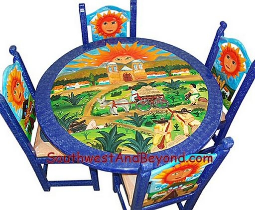 Attirant Carved Hand Painted Mexican Table Sets
