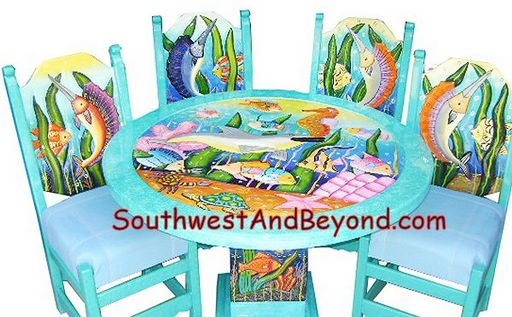 Restaurant Tables For Sale >> Carved Hand Painted Mexican Table Sets