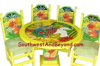 Carved Hand Painted Mexican Table Sets