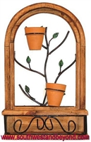 Rustic Arched Window Frame Wall Decor with terra cotta flower pots