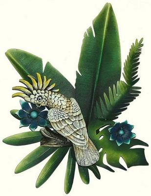01 Tropical Atoo Bird Metal Wall Art Decor Large Macaw