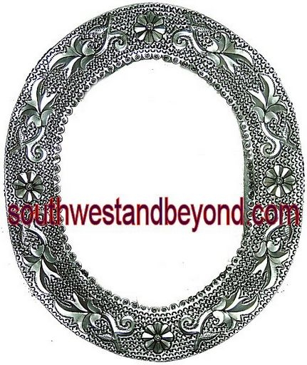 Oval Mexican Tin Framed Mirror - Silver Color