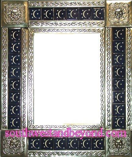 Rectangular 25x21 Tin Framed Hand Hammered Mirror With Talavera