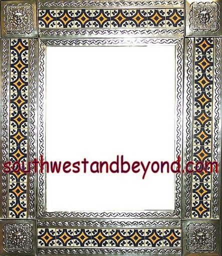 Tin Framed Hand Hammered 29x25 Mirror With Talavera Tiles Silver