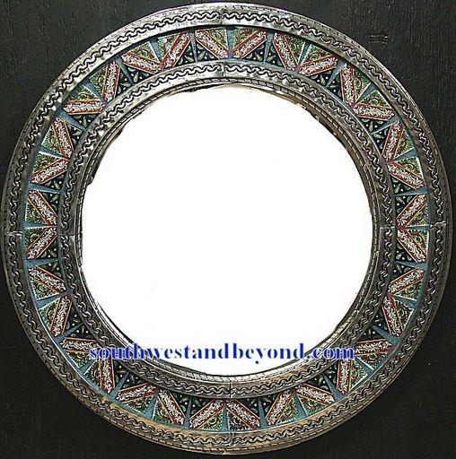 Mexican Round Tin Framed Mirror With Talavera Tiles Silver