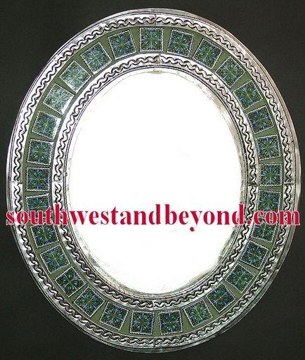 Mexican oval tin framed mirror with talvera tiles - silver color