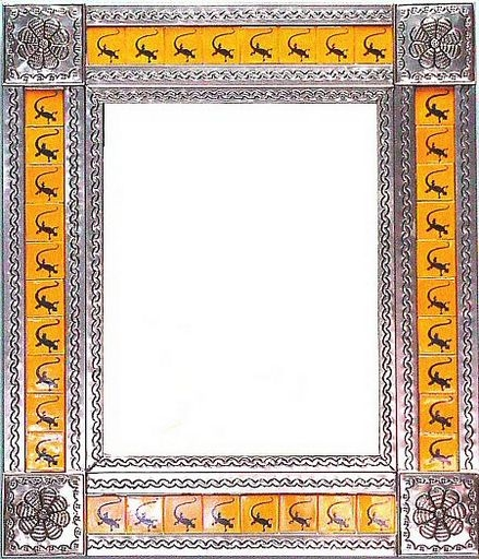 rectangular tin framed hand hammered mirror with talavera tiles - silver