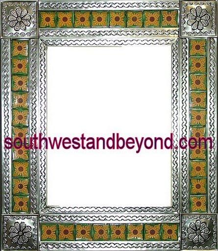 Mexican Tin Frame Mirror Talavera Tiled