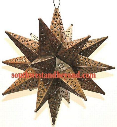 Mexican Tin Hanging Stars Rustic Star Light Fixture