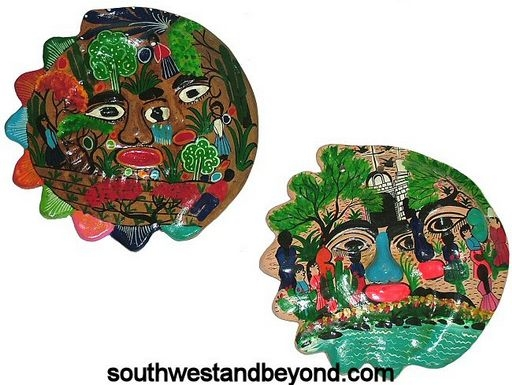 Clay Masks Mexican Folk Art Wall Decor