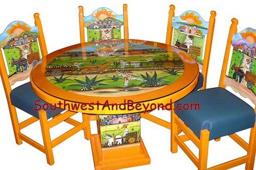 Beau Carved Hand Painted Mexican Table Sets