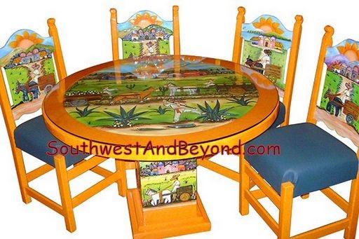 01a Pueblo Design Table Set Hand Carved Painted 033