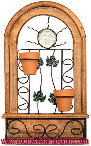 rustic arched window frame wall decor with terra cotta flower pots - Window Frame Wall Decor